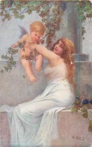 Fr. Klimes 1916 art postcard Dieu de l`amour love God Cupid angel beauty lady