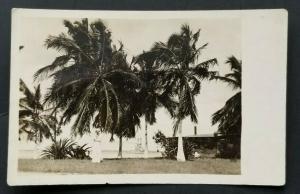 Mint Honolulu Hawaii Sailor in Uniform Near Palm Trees Real Photograph Postcard