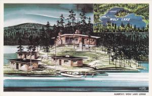 Aerial View, Wolf Lake Lodge, WOLF LAKE, Alberta, Canada, 40-60´s