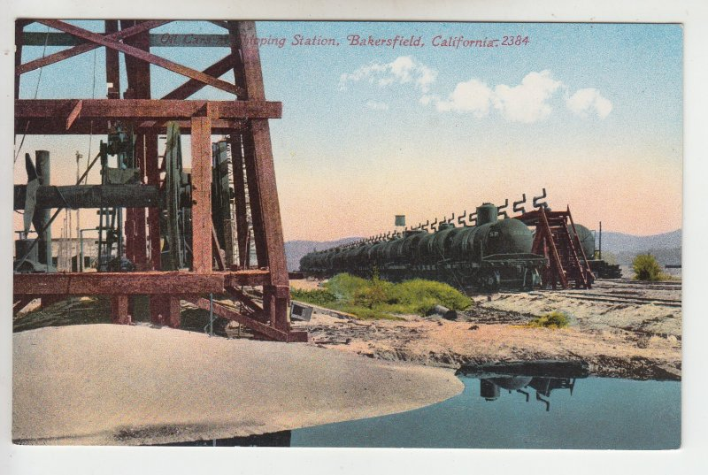 P1983, old postcard  RR train tanker cars oil well bakersfield calif unused