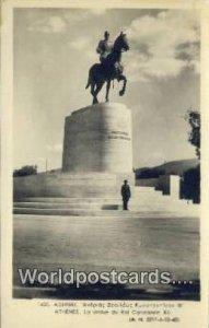 La Statue du Roi Constantin XII Athenes Greece Writing on back
