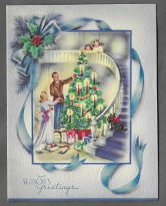 VINTAGE 1940s WWII ERA Christmas Greeting Holiday Card FAMILY DECORATING TREE