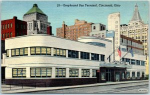 Cincinnati, Ohio Postcard Greyhound Bus Terminal Art Deco Depot Building Linen