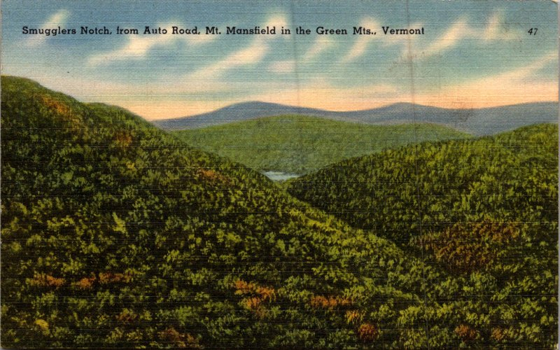 Smugglers Notch Auto Road Mt Mansfield  Green Mountains Vermont Vintage postcard