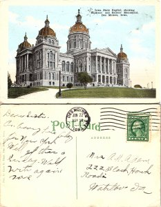 Iowa State Capitol, showing Soldiers' and Sailors' Monument, Des Moines, Iowa