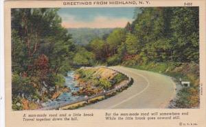 New York Greetings From Highland 1938 Curteich