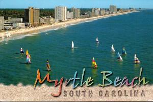 South Carolina Myrtle Beach Sailboats Along The Shore 1992