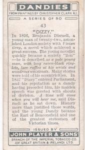 Cigarette Card Player's Dandies No 43 Benjamin Disraeli