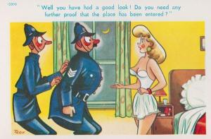 Burglary Breaking & Entering Into A Woman House Policeman Comic Humour Postcard