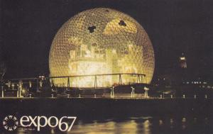 MONTREAL , Quebec, Canada, EXPO67 ; Pavilion of the United States at night