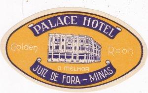 Brasil Minas Juiz De Fore Palace Hotel Vintage Luggage Label sk4016