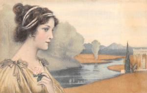 Vintage Lady Femme Dame, Rose, River Landscape Painting, M.M. Vienne Postcard