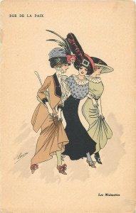Early parisian fashion pictorial card artist signed femmes rue de la paix