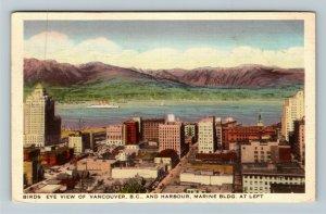Vancouver BC British Columbia Canada, Birds Eye View Linen c1938 Postcard