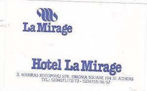 GREECE ATHENS HOTEL LA MIRAGE VINTAGE LUGGAGE LABEL