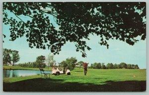 Traverse City Michigan~Elmbrook Golf Course~Golf Cart~Pond~Park Bench~1960's