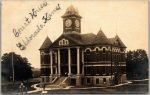1909 El Dorado, Kansas RPPC Photo Postcard BUTLER COUNTY COURT HOUSE w/ Cancel