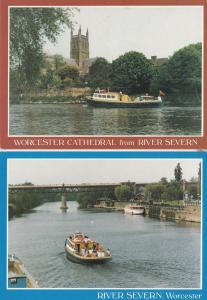 Bickerline Cruises Worcester Guided Trips 2x Ship Advertising Postcard s