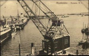 Montevideo Harbor & Crane c1910 Postcard