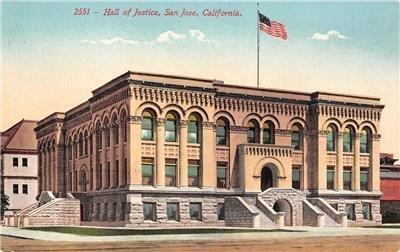 Hall of Justice SAN JOSE, CA Santa Clara County c1910s Mitchell Vintage Postcard