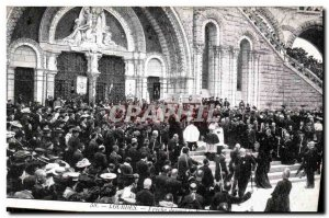 Old Postcard Lourdes Preaching before the Rosary