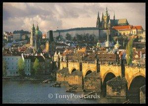 prague. the vitava river. charles bridge. the prague castle