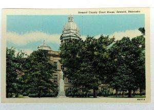 Seward Nebraska Seward County Court House Vintage Postcard