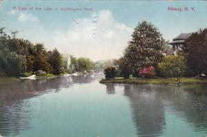 New York Albany View Of The Lake In Washington Park 1909