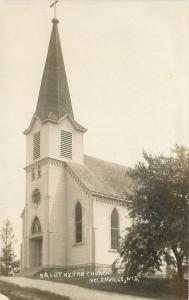 Helenville Wisconsin~Lutheran Church on Hill~Tree~LL Cook 1914 Real Photo~RPPC