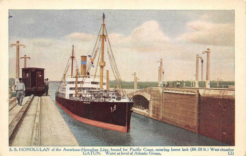 S.S. HONOLULAN American-Hawaiian Line Gatun Panama Canal c1920s Vintage Postcard
