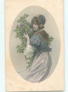 foreign Old Postcard EUROPEAN WOMAN COLLECTING CHRISTMAS HOLLY AC2620