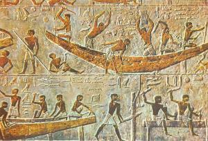Egypt Sakkara - Ti-Mastaba - Ship building scene 2560 B.C.