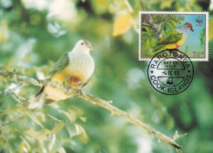 Rarotonga Flycatcher Cook Islands Bird Limited WWF Stamp First Day Cover Post...