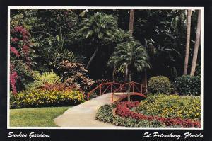 Footbridge Over Reflective Pool at Sunken Gardens St Petersburg Florida