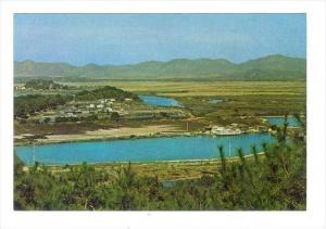 Shumchun River viewed from a hill at Lukmachow, Hong Kong, China, 1950-1970s