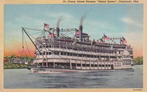 Ohio Cincinnati Coney Island Steamer Island Queen 1942 Curteich
