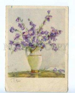 221173 USSR 1954 Zhukov bells flowers old RPPC w/ gluing Lenin stamp
