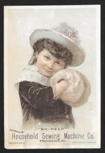 VICTORIAN TRADE CARD Household Sewing Co Girl in Coat, Hat & Muff Bo-Peep c1885