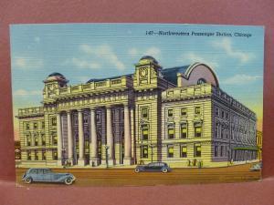 Old Postcard IL Chicago Northwestern Passenger Station #2