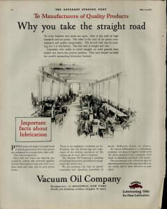 1927 Vacuum Oil Company Why You Take the Straight Road Vintage Print Ad 3917