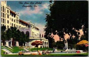 Augusta, Georgia Postcard THE BON AIR HOTEL Girls at the Pool Linen 1951 Cancel