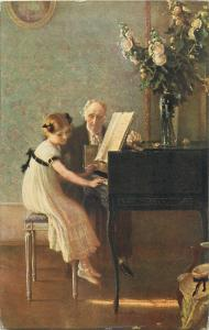 Meunier - The lesson of harpsichord 1912 art postcard