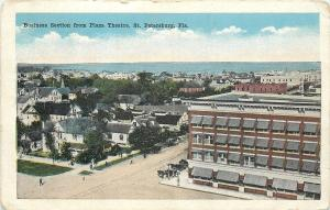 St Petersburg Florida~City Panorama From Plaza Theatre~Shops~Homes~Gulf~1920s PC