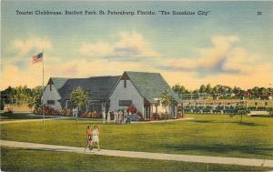 St Petersburg Florida~Tourist Clubhouse~Bartlett Park~Flower Bushes~Flag~1940s