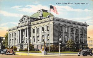 Peru Indiana~Miami County Court House~Monument~1930s Cars~1939 Linen Postcard