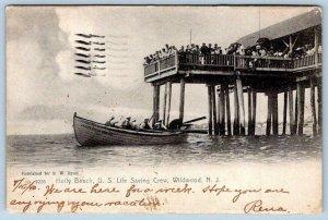 1910 WILDWOOD NEW JERSEY*NJ*HOLLY BEACH* US LIFE SAVING CREW*LIFEGUARD*ROTOGRAPH