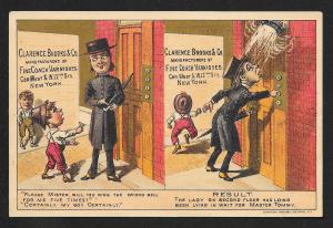 VICTORIAN TRADE CARD Clarence Brooks Varnishes Boy & Gentleman at Elevator