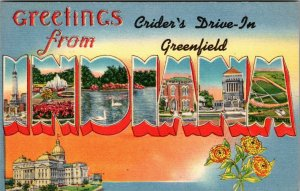 [64992] OLD LARGE LETTER POSTCARD GREETINGS FROM CRIDER'S DRIVE-IN, GREENFIELD