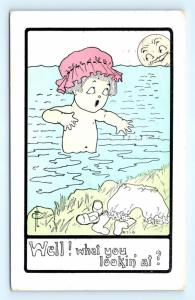 Postcard Comic Well What You Looking At Sun Looking at Skinny Dipper FLC K08