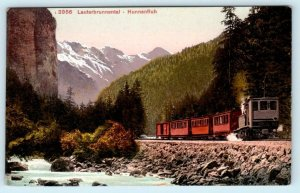 LAUTERBRUNNENTAL - HUNNENFLUH, Switzerland TRAIN Railroad c1910s Postcard